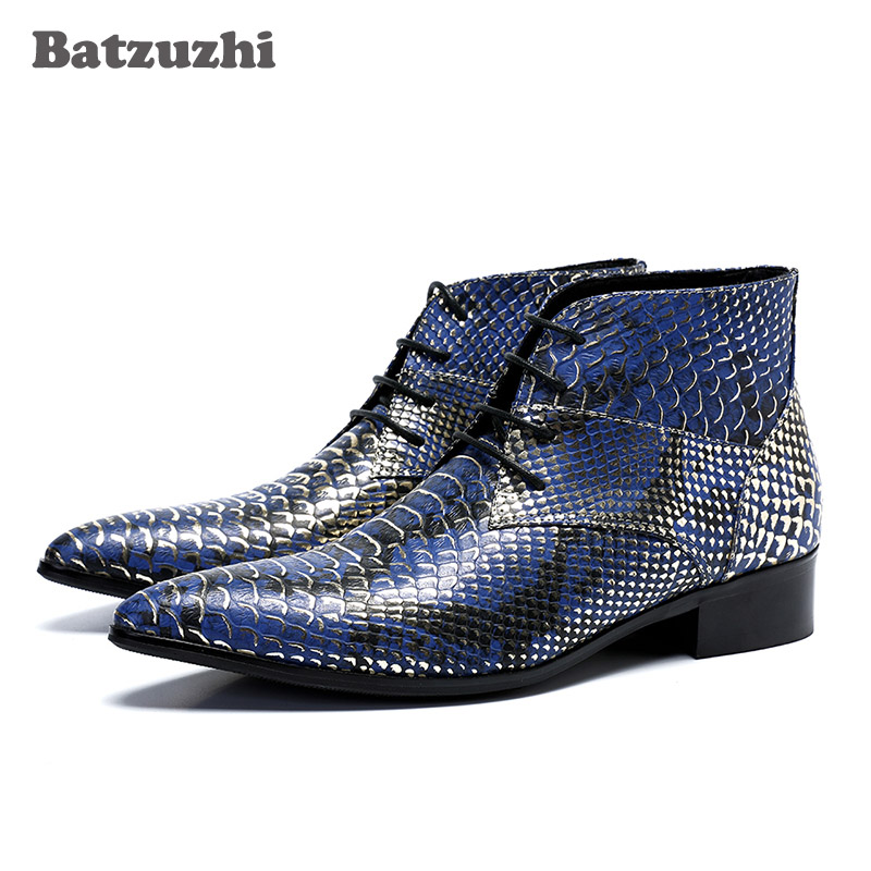 Batzuzhi Luxury Men Boots Short Ankle Leather Boots Fashion Fish scale Leather Lace-up Pointed Toe Blue Party Boots Botas HombreBatzuzhi Luxury Men Boots Short Ankle Leather Boots Fashion Fish scale Leather Lace-up Pointed Toe Blue Party Boots Botas Hombre
