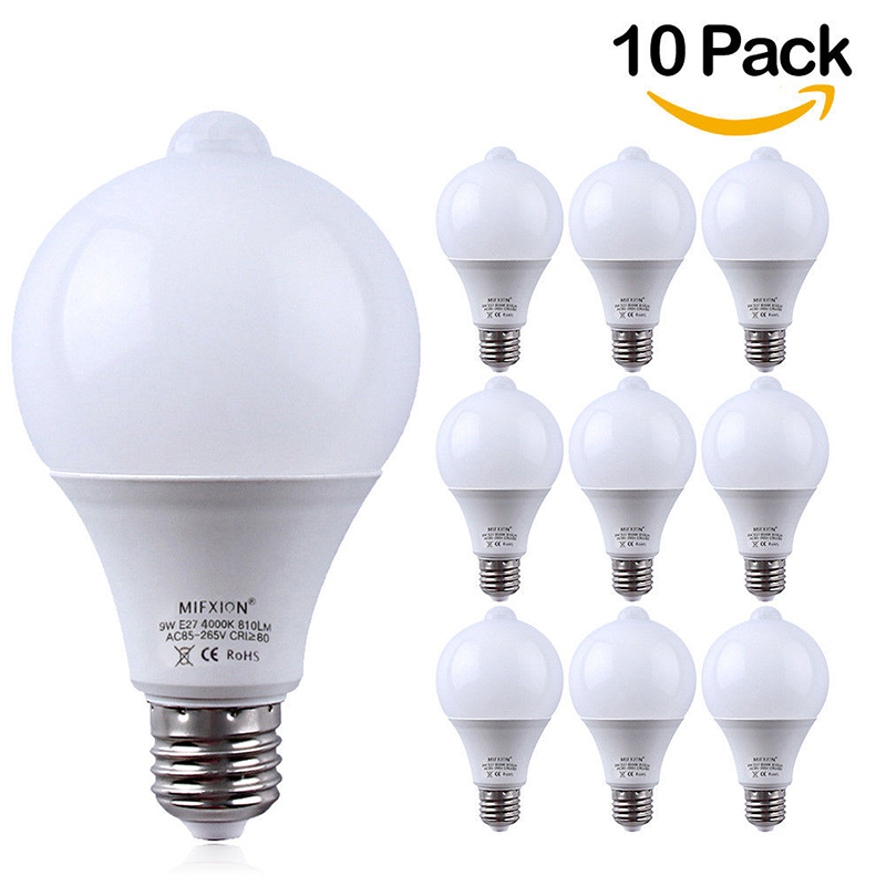 10PCS 9W PIR Motion Sensor LED Bulb+Light Control Motion Sensor Light E27 Led Bulb Auto Smart Led PIR Infrared Body Sound 5pcs light control led lamp pir motion sensor led bulb auto infrared sensor led energy saving bulbs for stairs hallway lighting