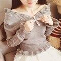 Японский стиль милые женщины с плеча свитер слэш V шея вязаный рябить свитера пуловеры урожай высокой талией дамы перемычки