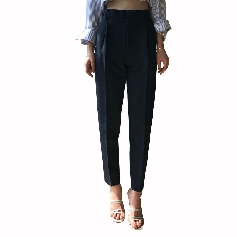 Pantalones Harem Mujer Negro black Oficina Señoras White Nuevas Transpirables blue Lápiz Simples Mobtrs Casuales xwIqH4Ytw