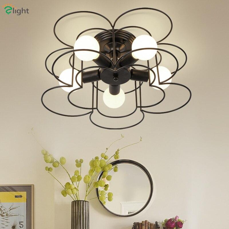 2016 North Europe Flower Iron Flower Frame 5 Light Dia50cm Ceiling Light Bedroom Minimalism Led E27 White / Black Ceiling Llamp