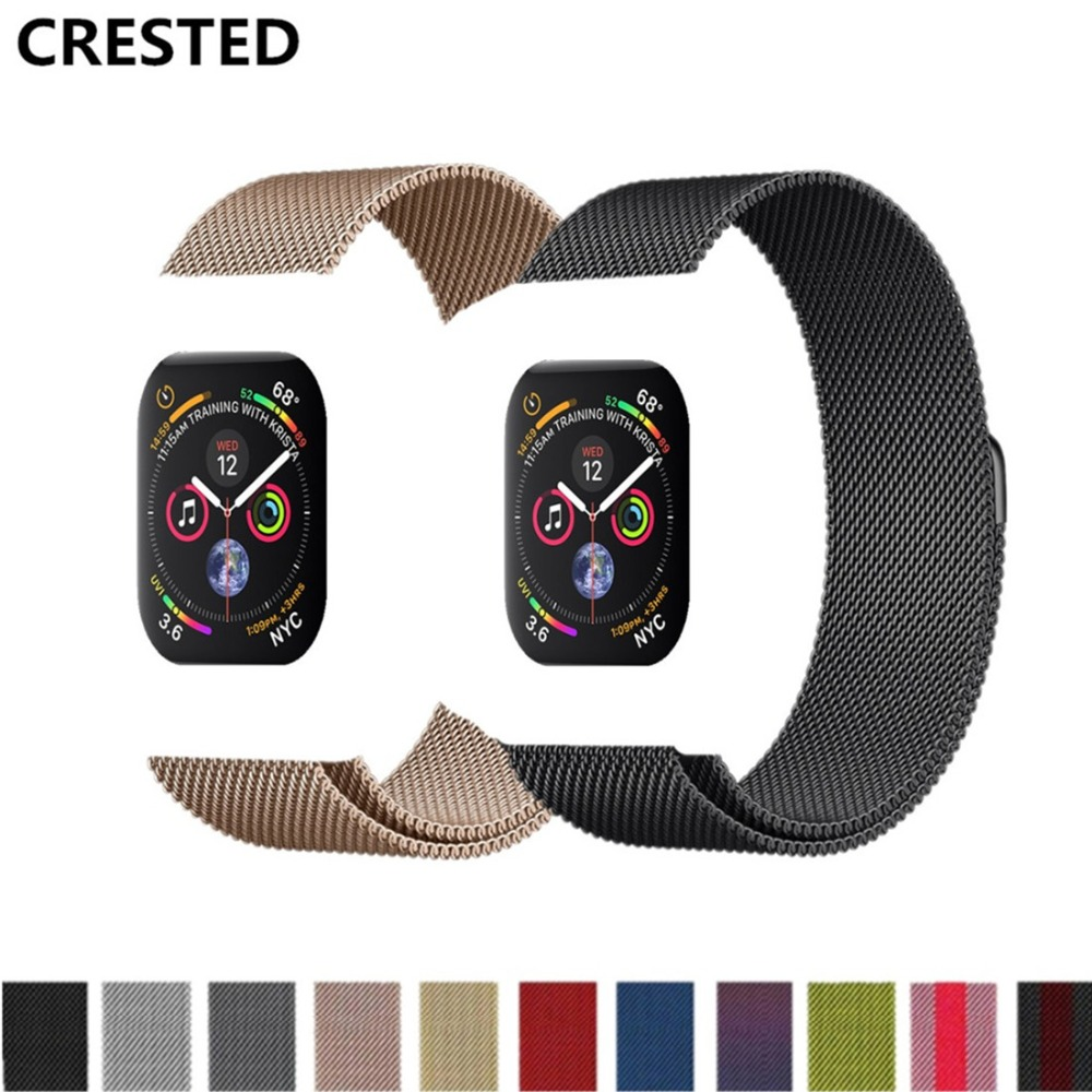 CRESTED Milanese Loop For Apple Watch band series 4 44mm/40mm strap iwatch 3 2 1 42mm/38mm Stainless Steel wrist Bracelet belt