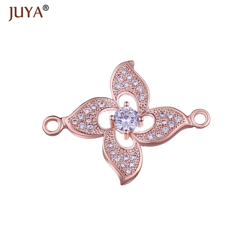 Jewelry Making Supplies Hot Fashion 3 Colors Copper Zircon Flower Connectors Charms Pendants DIY Craft Jewellery Findings