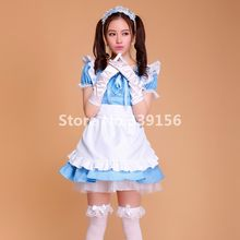 3837d1c5a809 Candy - colored Maid Costumes Adult Anime Alice Blue Cosplay Outfit Sweet  Lolita Princess Dress Uniform