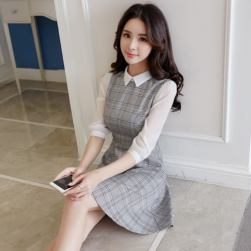 Spring New Fashion Puff Sleeve Dress Female Ukraine Elegant Office Lady Womens Clothing Temperament Classical Dresses For Women