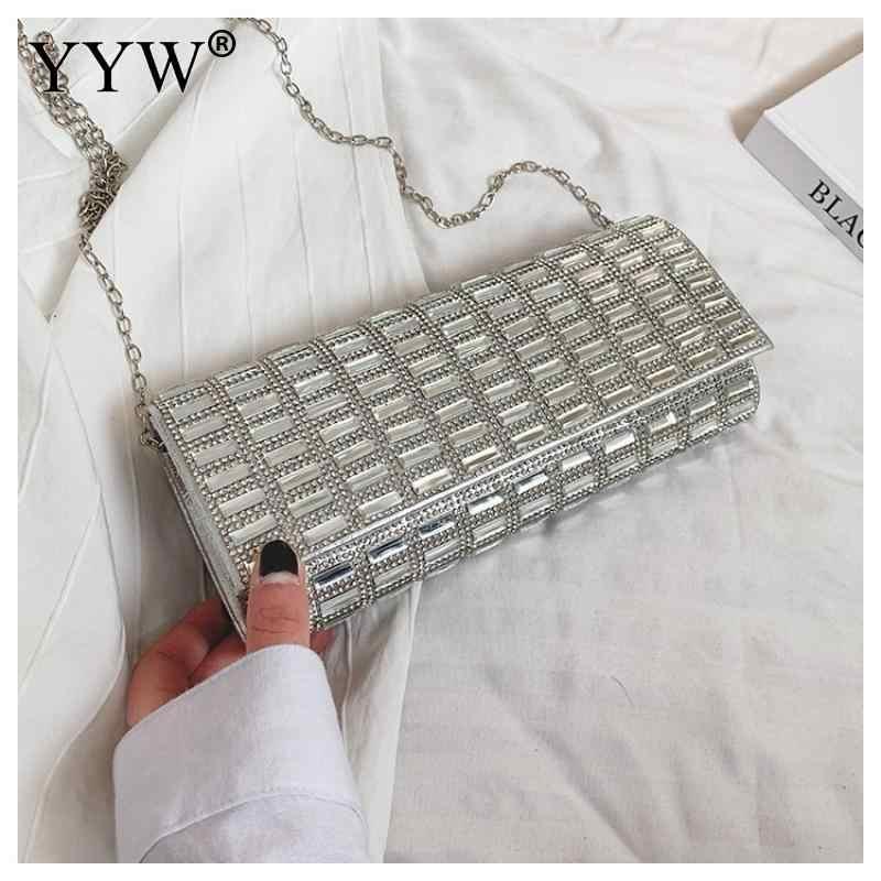 YYW 2019 Mulheres da Noite Saco Sacos de Festa de Casamento de Prata Strass Diamante Embreagens Sacos de Embreagem Bolsas De Luxo Cristal Bling durável