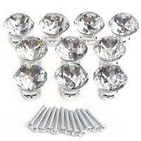 MTGATHER10 Pcs 30mmx30mm Crystal Glass Clear Cabinet Knob Drawer Pull Handle Kitchen Door Wardrobe Hardware