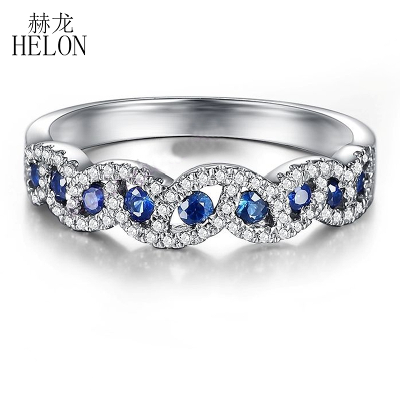 HELON Solid 10K White Gold 0.7CT Genuine Sapphires & Real Natural Diamonds Engagement Wedding Band Ring Tension Pave SettingHELON Solid 10K White Gold 0.7CT Genuine Sapphires & Real Natural Diamonds Engagement Wedding Band Ring Tension Pave Setting