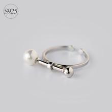 Fashion New Real. 925 Sterling Silver Adjustable Size Pearl&Round Bar Straight Ring jewelry GTLJ868
