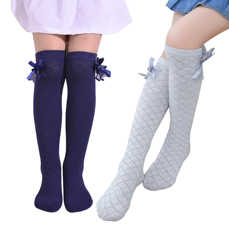 Girls Socks Knee High Bowknot Plaid Style Children Kids Causal Elastic Socks Solid Colors For 3-12 Years Girls Knee High Sock