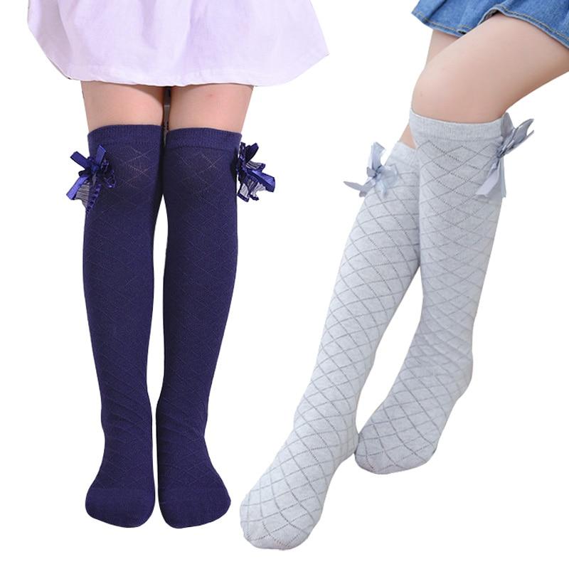 Girls Socks Knee High Bowknot Plaid Style Children Kids Causal Elastic Socks Solid Colors For 3-12 Years Girls Knee High Sock