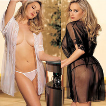 Transparent Female Gown with T-back Cheap Hot sexy Seducing Erotic Sleepwear Women Sex Slave Lingerie