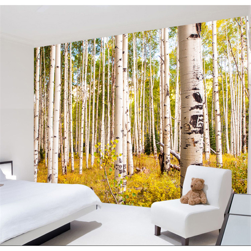 beibehang papel de parede para quarto Birch trees forest nature 3d wallpaper living room bedroom office mural wallpaper beibehang beautiful rose sea living room 3d flooring tiles papel de parede para quarto photo wall mural wallpaper roll walls 3d