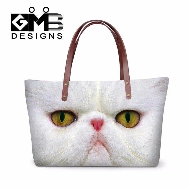 Animal Cat Printed Clear Shoulder Handbags Women Large Capacity Tote Bags for Girls Teen Hand bag Organizer Female Casual Bags