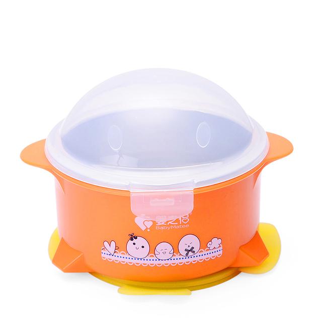 Stainless steel recipientes de comida para bebé de alimentação tigela placa de aquecimento tarelka otários bebê lanche tigela tigela de comida buffet pratos 60r025