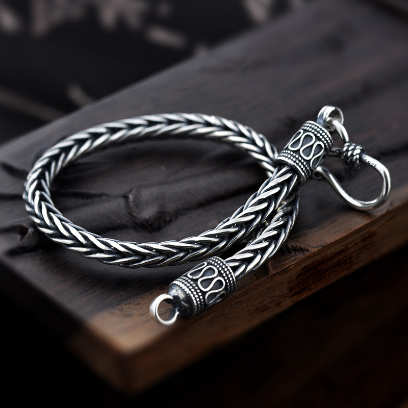 Vintage Real Pure 925 Sterling Silver Handmade Braided Chain Bracelet For Men Jewelry Mens Bracelets 2018 new arrival 925 silver bracelet men mens bracelets