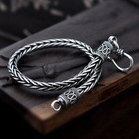 Vintage Real Pure 925 Sterling Silver Handmade Braided Chain Bracelet For Men Jewelry Mens Bracelets 2018