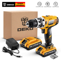 DEKO GCD18DU2 18V Cordless Drill Electric Screwdriver Lithium Ion Mini Power Driver Variable Speed LED 2 Batteries