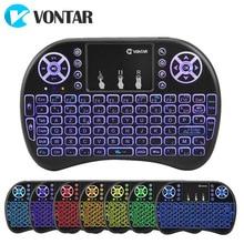 VONTAR подсветка i8 Английский Русский Испанский 2,4 ГГц Беспроводная клавиатура air mouse тачпад с подсветкой для Android tv BOX Mini PC