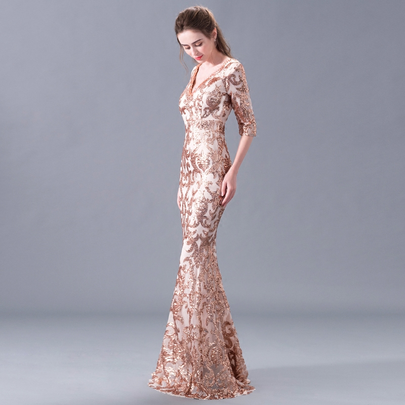 88030be2e01230 Kopen Goedkoop Schoonheid Emily Luxe Kralen Sexy Mermaid Avondjurken 2018 v  hals Lange Party Prom Dresses Plus Size Partij Jassen Prijs