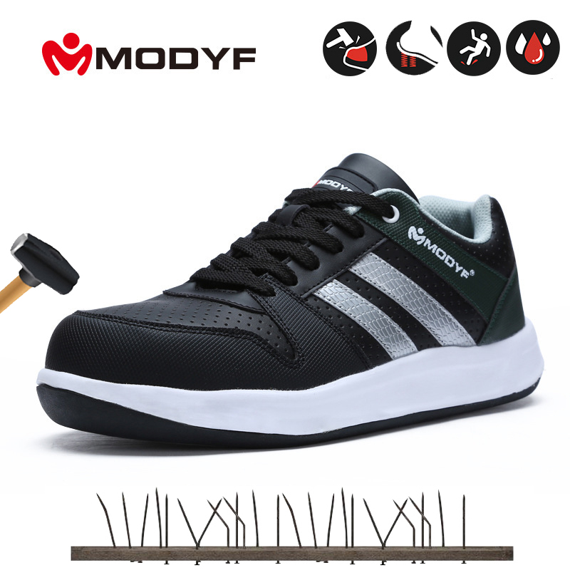 Steel Toe Shoes Men Work Safety Sneakers Reflective Strip Lightweight Industrial & Construction Shoes Work Boots