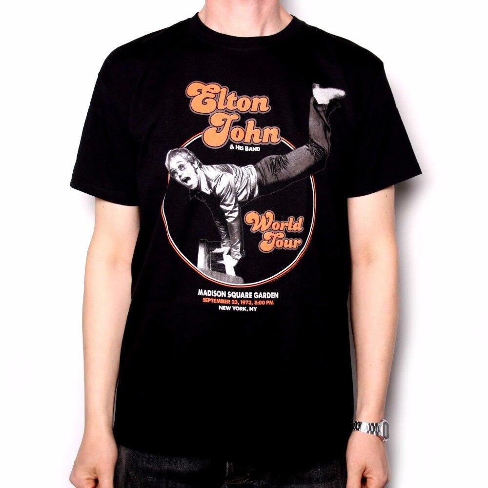 Military T Shirts MenS Short Sleeve Summer O-Neck Elton John T Shirt - Madison Square Garden 73 Handstand 100% Official Tee Shi