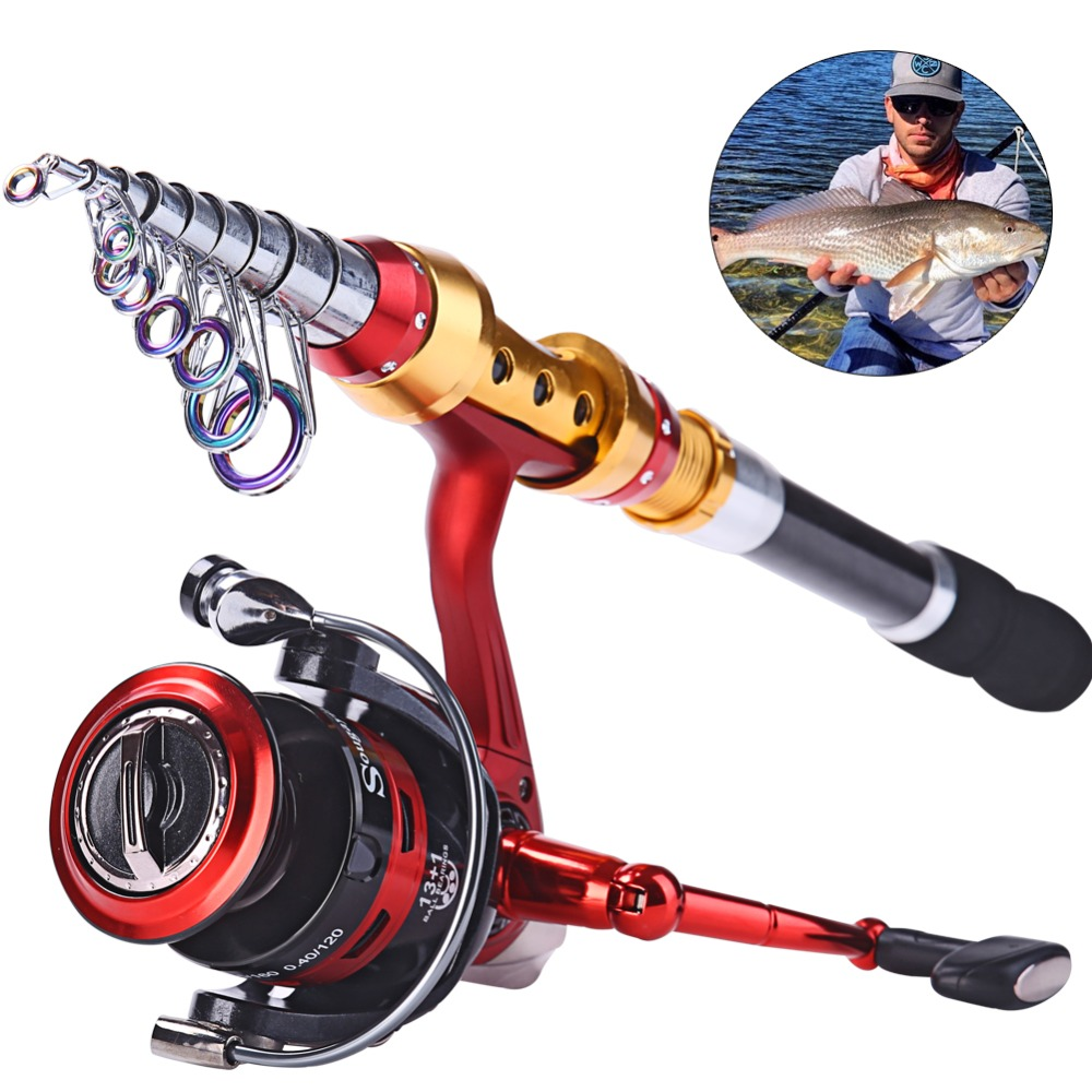 ФОТО Sougayilang 1.8m-3.6m Fishing Rod With 14BB Fishing Reel Rock Boat Spinning Carbon Telescopic Fishing Rod With Reel Combos