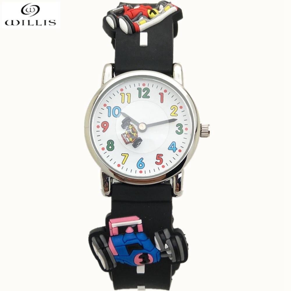 Уиллис Маленький Мальчик Дети наручные Часы мультфильм 3D гоночный автомобиль Часы 30 м водонепроницаемый мультфильм дети смотрят Лучший де... ...