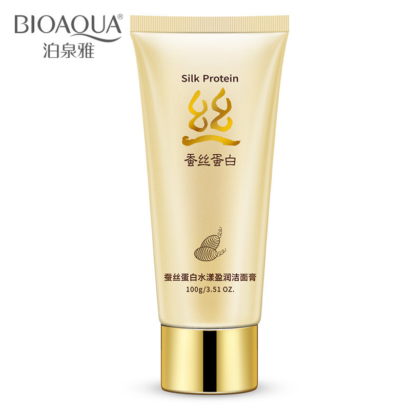 100g BIOAQUA Silk Protein Facial Cleanser Moisturizer Hydrating Whitening Skin Oil Control Shrink Pores Acne Treatment Skin Care