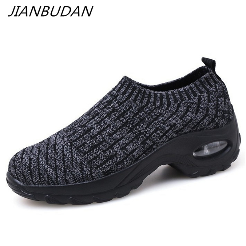 JIANBUDAN  Breathable Lightweight Women's Sneakers New 2019 Knitted Mesh Fitness Shoes Casual Comfortable Creeping Shoes 35-42