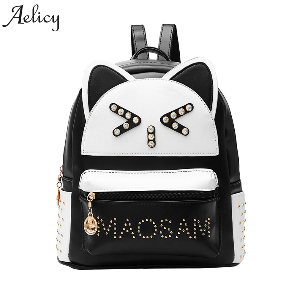 Aelicy Woman Fashion Backpack Branded High Quality Oxford Rivet Backpack Women Vintage Physiological Curve Back SchoolBags