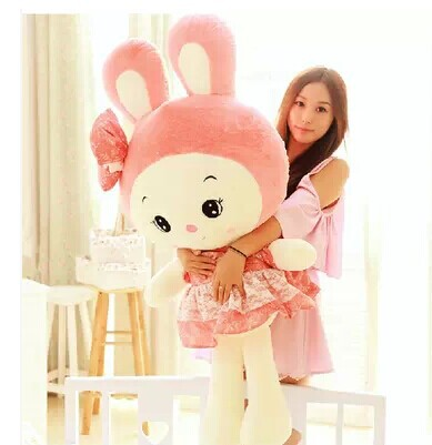 stuffed animal 100 cm cute rabbit pink skirt rabbit plush toy doll gift  w2555 stuffed animal 90 cm plush dolphin toy doll pink or blue colour great gift free shipping w166
