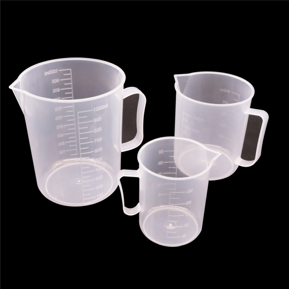 1 Pcs Laboratory Beaker Plastic Measuring Cup 1000ml/500ml/250ml Laboratory Cylinder Student School And Lab Student Stationery