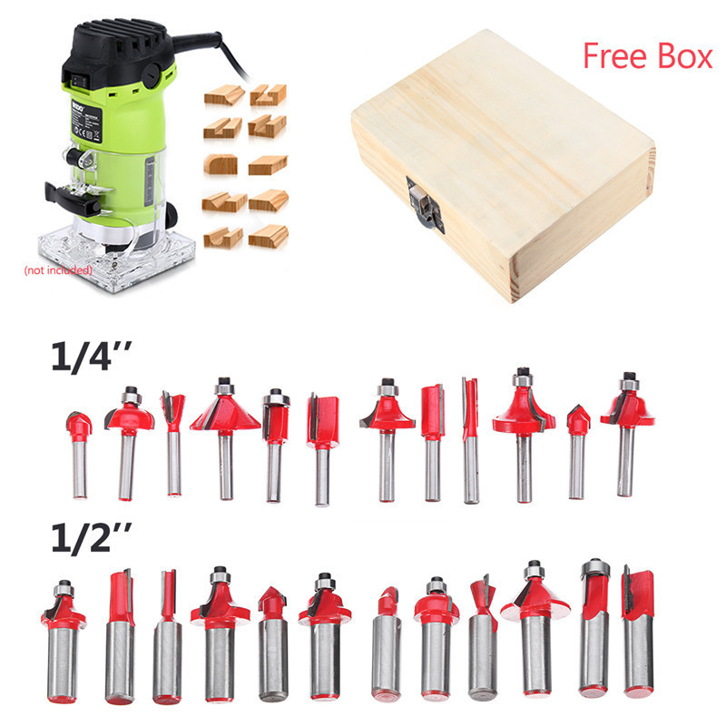 12Pcs/Set 1/4'' 1/2'' Shank Tungsten Carbide Router Bits Woodworking Milling Cutter For Hand Trimmer Wood Router Accessories