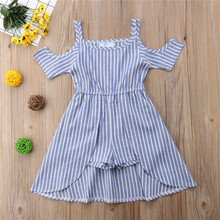 f10d4e1f5e85 Summer Blue Striped Sleeveless Cold Shoulder Rompers Jumpsuit Clothes Cute  Girl Clothing Cotton Toddler Kids Girls