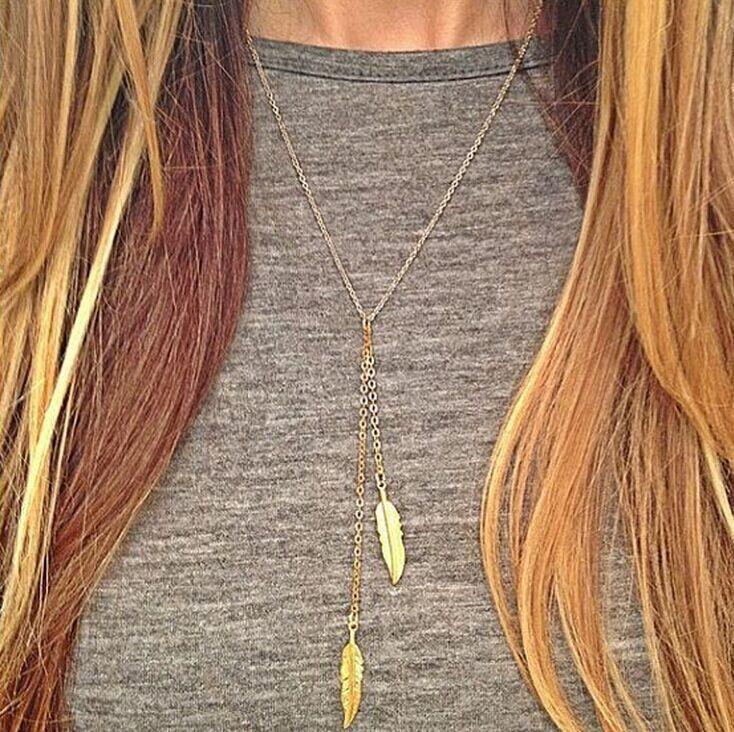 HOCOLE 2019 New Fashion womens vintage long necklace jewelry gold simple feather pendant necklaces colar Leaf Jewelry gifts