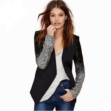 New Women Jacket Coat Blazer Feminino Fashion PU Leather Stitching Silver Sequins Cardigan Blazers Suit Jackets Female C1233
