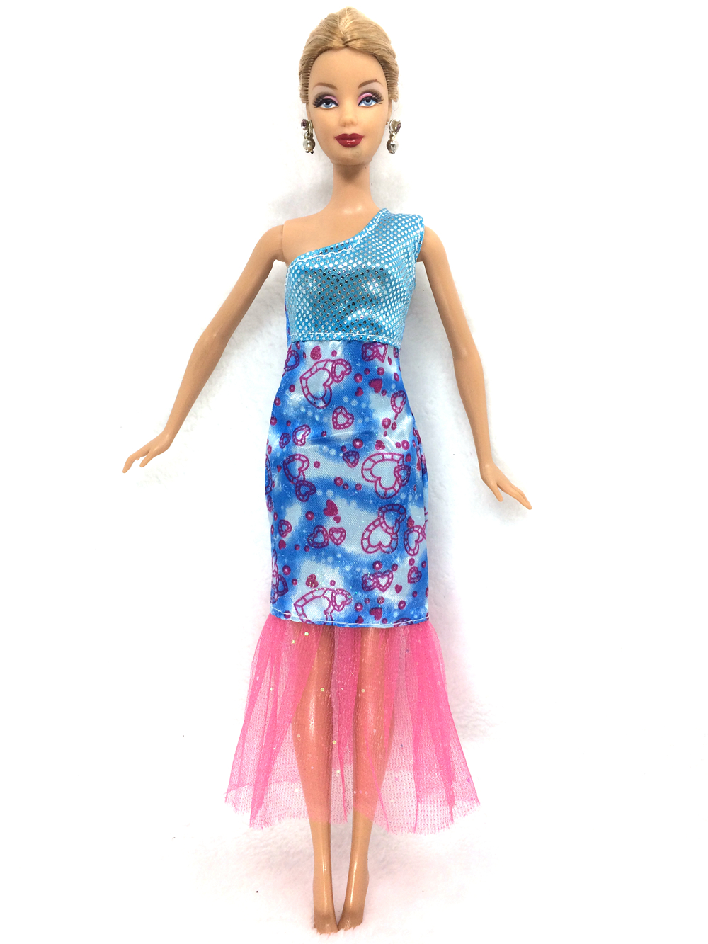 NK One Set Authentic Doll Garments Lovely Celebration Outfit Style Gown For Barbie Authentic Doll Pink Bow Gauze Child Toys B025