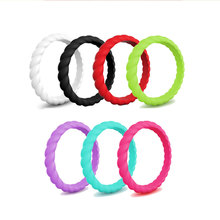 7pcs Flexible Silicone Ring Hypoallergenic Sports Food Grade Environmental Rubber Finger Rings for Women Wedding Band