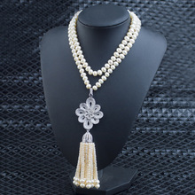 Pearl Jewelry Charming Flower Pendant Necklaces with Pearl Beads Tassel Luxury AAA Cubic Zircon Sweater Necklaces