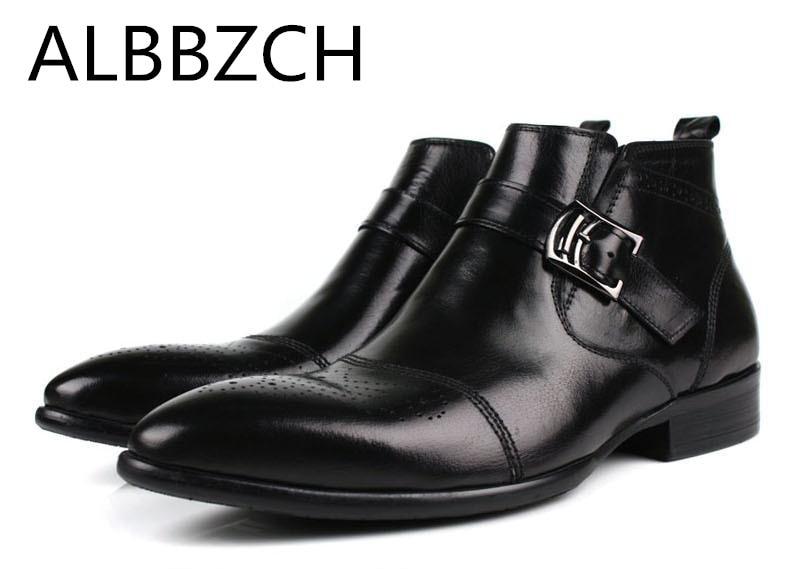 Tobillo Vestir Nuevos Los Zapatos Negocios Moda Tendencia Brogue Black Oxford De Genuino Casual Botas Trabajo Chelase Hombre Hombres Cuero q0gprxX0