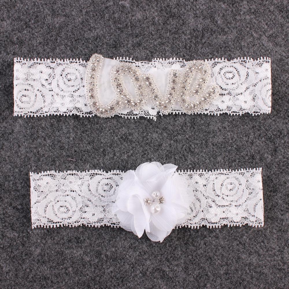Rhinestone Wedding Garter Set Lace Flower Bridal Garter