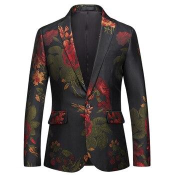 Loldeal Men's Dress Floral Suit Notched Lapel Slim Fit Stylish Blazer Dress Suit