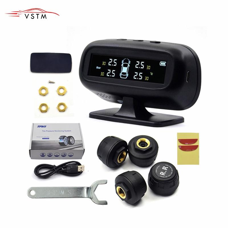 Solar TPMS Auto Reifendruck Alarm Monitor System Display Temperatur Warnung Kraftstoff Sparen Sie mit 4 Sensoren