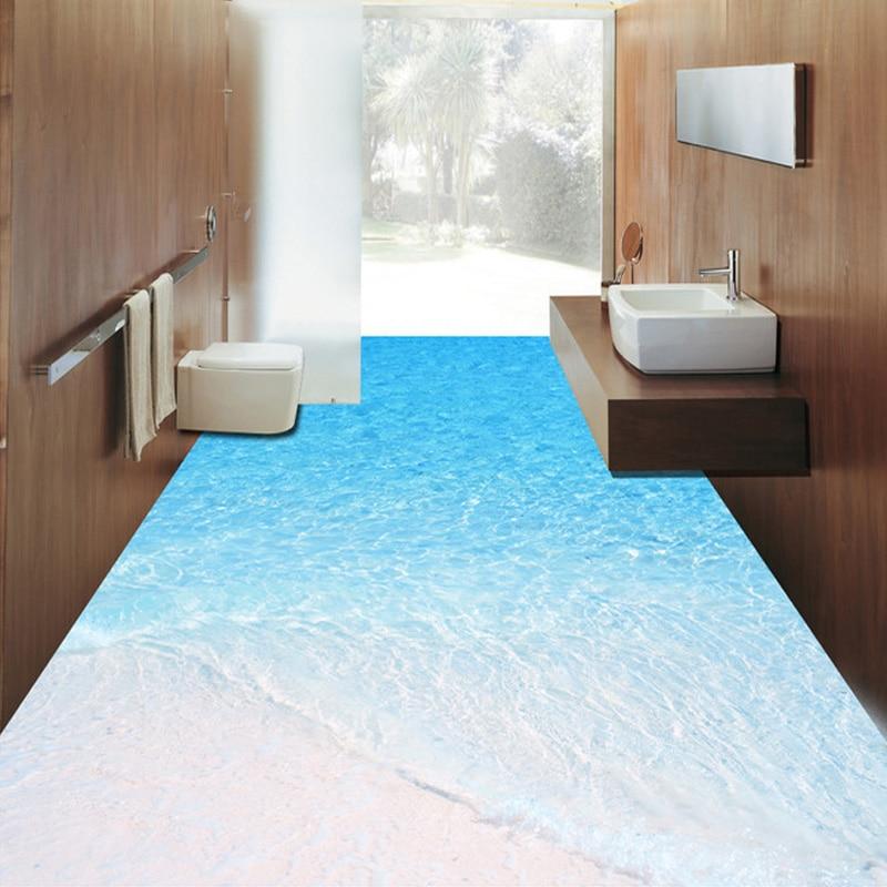 Benutzerdefinierte Foto Boden Tapete 3D Strand Meerwasser - 3d badezimmerboden