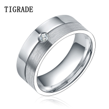 цена 8mm Silver Wedding Band Cubic Zirconia Titanium Ring Men Women Finger Jewelry bijuteria feminina Promotion онлайн в 2017 году