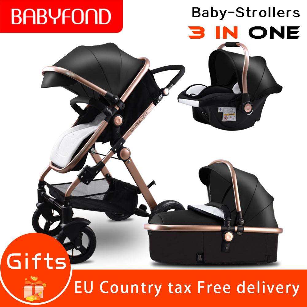 Carros de bebê carrinho de Bebê de ouro alta paisagem material do PLUTÔNIO 3 em 1 2 em 1 carrinho com assento de carro do bebê carrinho de bebê do carro de segurança CE Babyfond