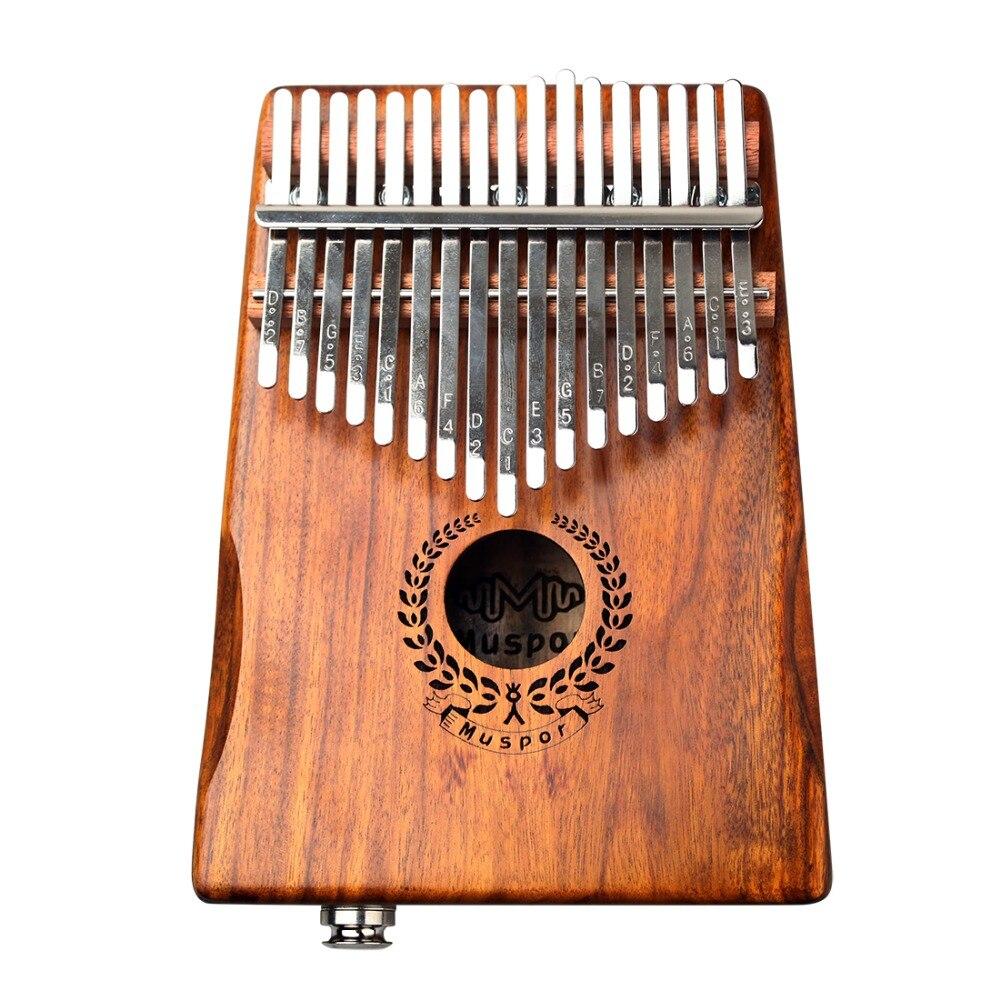 Marque Nouveau 17 Touches EQ Kalimba Mbira Calimba Solide Acacia Piano à pouces Lien Haut-Parleur Électrique Ramassage avec Sac + 3 m Câble - 3