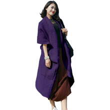e5f477cf533 XSJPZH Loose Wool Coat Women Asymmetric Long Soft Vintage Woolen Coat Plus  Size