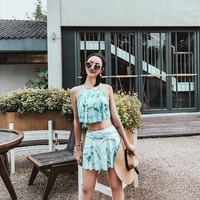 NEW 2018 Summer Sexy Print Ruffle Two Piece Swimsuit High Neck Skirt Bikini Swimwear Beach Women